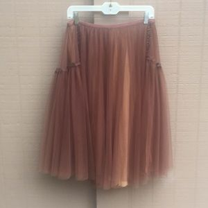 Brown sheer Skirt With Beige Lining